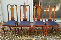 Set Of 4 Antique 19c. Carved Walnut Queen Anne Dining Chair