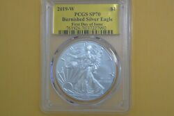 2019-w 1 1oz Burnished Silver Eagle Sp70 Pcgs First Day Of Issue Gold Foil