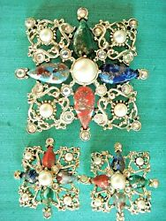 Vintage Sarah Coventry Ab Gold Pearl Cabochon Brooch Pin Clip Earring Set