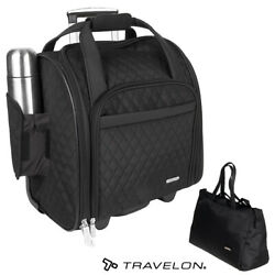 2 PCS Travelon Underseat Spinner Bag Carry-On Wheeled with Back-Up Bag Black Set