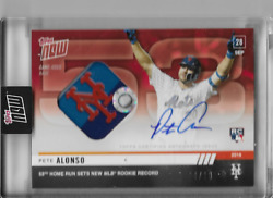 2019 Topps Now Pete Alonso Auto/relic 'd 4/10 Hr Record 53 Mets Ny Base 913e