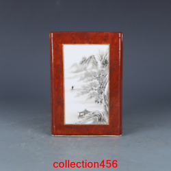 Rare China Antique Qing Dynasty Qianlong Ink Color Mountain Water Pen Container