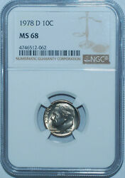 1978 D Ngc Ms68 Roosevelt Dime Sole Finest At Ngc