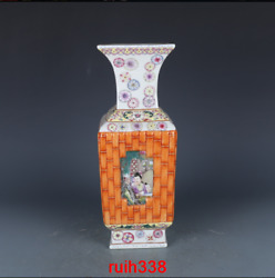 12.2andrdquorare China Antique Clear Qianlong Enamel Window Mother And Son Square Vase