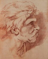 Hugues Taraval French Old Master 18th C. Drawing Red Chalk Sanguine Head Man