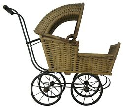 Antique Victorian Wicker Baby Doll Cariage Buggy Pram Stroller Adjustable Canopy