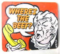 1984 Where's The Beef The Original By Wendy's Six 6 Flip Flap Stickers Nip