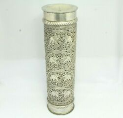 Handcrafted 925 Sterling Silver Candle Stand Engraved Design Home Decorative