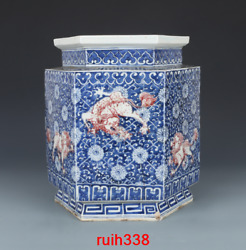 11.8andldquorare China Antique Qing Dynasty Qianlong Blue And White Red Lion Cans
