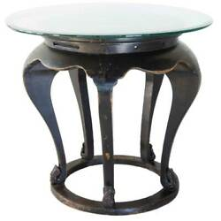 Antique Chinese Qing Black Elm And Glass Round Table Base 19th Century