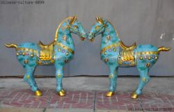 Chinese Royal Bronze Cloisonne Fengshui War Horse Succeed Horses Statue Pair