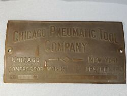 Vintage Brass Chicago Pneumatic Tool Company Builders Plate Id Al Capone Era