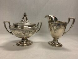 Vintage Wallace Silver Sterling Hollowware Lidded Sugar And Creamer Set 3700-2