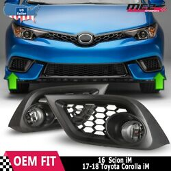 For 16-17 Toyota Scion Im Oe Factory Fit Fog Light Bumper Kit Clear Lens