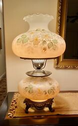 Stunning Accurate Cast Double Globe Hurricane Parlor 3 Way Switch Table Lamp 24andrdquo