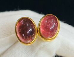 Vintage Cabochon Tourmaline Earrings 18k 750 Yellow Gold Post Clip On 8.8 Gr