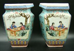 Pair 19th Century Chinese Porcelain Famille Rose Turquoise Wall Pocket Vase Rare