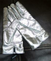 Nwot Ultra-rare Dolce And Gabbana Italy Sheepskin Leather Metallic Silver Gloves 8