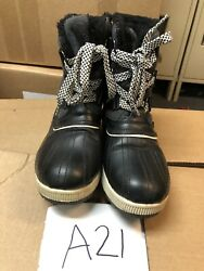 Totes Boots Ashley Grey Waterproof Shell Lined Winter Duck Boots Sz 8 M $29.95