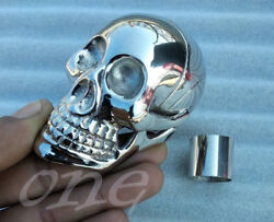 Silver Brass Antique Skull Head Handle For Shaft Wooden Walking Stick Solid Cane