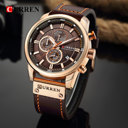 Curren Top Brand Casual Sport Watches For Men Blue Luxury Military Leather Wrist