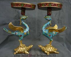 15 China Cloisonne Copper Palace Crane Stand Tortoise Turtle Candle Stick Pair