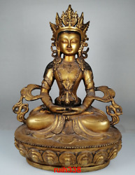 Old China Antique Qing Dynasty Copper Gold Plating Guanyin Buddha Statue Statue