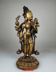Old China Antique Qing Dynasty Copper Gold Plating Lotus Flower Guanyin Buddha S