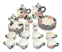 Villeroy And Boch China Wild Rose Tea Set, 28 Pieces Exc+++ Mettlach
