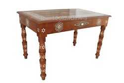 Antique Mother Of Pearl Inlay Teak Wood Table Handicraft Furniture Table