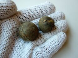Lot Of 2 Ancient Perfect Small Iron Cannon Balls Russian-turkish War 1877-1878
