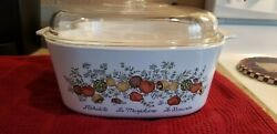 Vtg 5 Qt Corning Ware Spice Of Life A-5-b Casserole Dutch Oven Pyrex Domed Lid