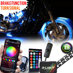 16pc Bluetooth Remote Motorcycle Led Neon Accent Under Glow Kit Turn Signal Mode