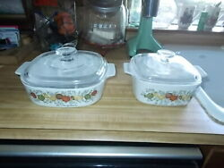 Vintage Corning Ware Spice Of Life A-1-b And A-8-b With Pyrex Lids