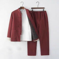 Menand039s Cotton Linen Chinese Tang Suit 2pcs Padded Jacket Pants Warm Vintage Style