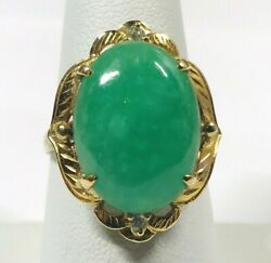 Vintage 18k Jade And Diamond Ring Natural Green Jadeite Jade Offered By Aituzzi