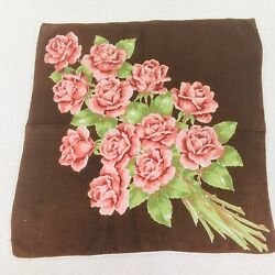 Vintage Hankie Brown Background Shades Or Pinks Big Bouquet Of Roses Green Leave