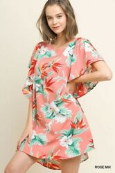 Xl-plus 1xl 2xl Umgee Tropical Floral Yellow Or Rose Tie Sleeve Dress/tunic Bhcs