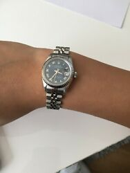 Womens Blue Rolex Date 26mm 18k White Gold/stainless Steel