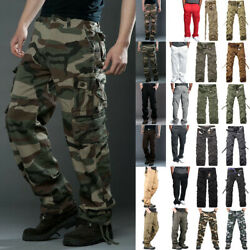 Mens Military Army Camouflage Cargo Pants Tactical Combat Casual Baggy Trousers