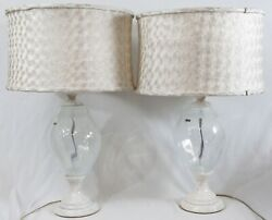 Waterford Evolution Table Lamps Pair Iced Glass Marble Contemporary Silk Shades