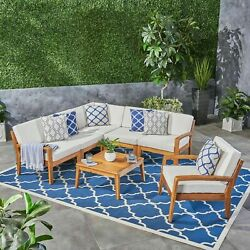 Giselle Outdoor Acacia Wood 6 Seater Sectional Sofa And Club Chair Set With Coff