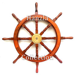 36 Brass And Wood Ship Wheel Nautical Vintage Decor Boat Steering Replica Style
