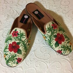 'By Page' Beige Green Red Needlepoint Slip-on Flats Mules -Size XL 10-10.5 - EUC