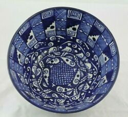 Lg Ceramic Bowl Mexican Fine Art Pottery Collectible Decor Hand Formed/painted