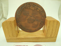 1996-7 5757 Calendar The Land Of Milk And Honey State Medal 90mm Copper Wood Base