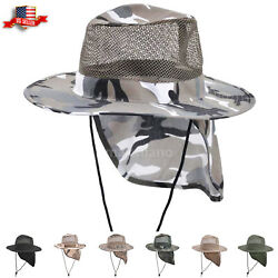 Cotton Boonie Hat for Men with Neck Cover Military Camo Hats Wide Brim Cool Mesh $10.99