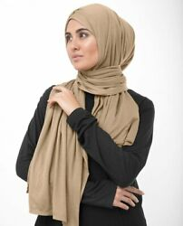 Designer Collection Macaroon Beige Jersey Hijab Scarf Islamic Head Wraps Cover