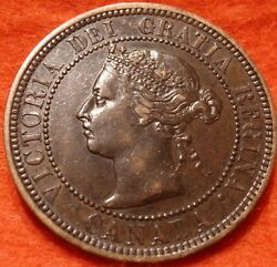 1882 H Au-unc High Grade Canada Large Cent Victoria Coin Canadian.