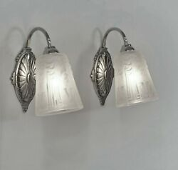 Muller Freres Pair Of 1930 French Art Deco Wall Sconces ... Lights Lamp France